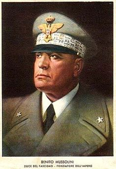 Italian propaganda poster depicting Benito Mussolini.