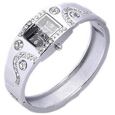 Womens Bracelet Bangle Wave Rhinestone Crystal Wrist Watch Silver -- You can find out more details at the link of the image.