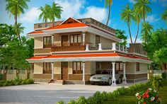 Beautiful #Kerala #Home Architecture for 4 bed room #House Ground floor - 1441 sq. ft Car porch Sit out Drawing Dining Study room Bed room -2 Attached Bath room - 1 Common -1 Kitchen Fire kitchen Store Work area First floor - 731 sq. ft Upper Living Bedroom - 2 Bathroom - 1 Balcony Total : 2172 Sq.ft