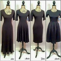 """""""Here are the four dress shapes that LuLaRoe currently makes. I carry the Ana, the Julia, and the Amelia! Don't you just love them all?!?! Check out my FB…"""""""
