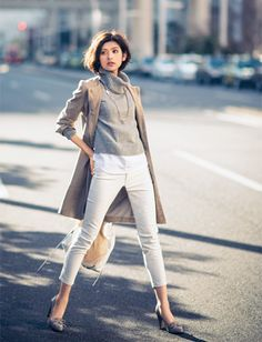 White skinny jeans, long white tee shirt or tank, gray sweater, trench coat