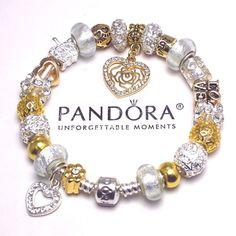 Authentic Pandora Silver Charm Bracelet, w/ Love Family Heart Gold Charms New #PandoraBracelet