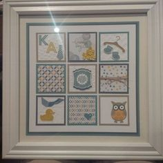 Stampin Up Something for Baby Moonlight DSP, Lost Lagoon, Hello Honey framed art by Gloria Kremer. Facebook: Girlfriend Originals