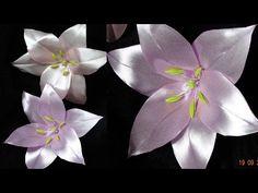 Лилия из лент/шпильки для волос/Lily of the tapes/New Petal kanzashi - YouTube