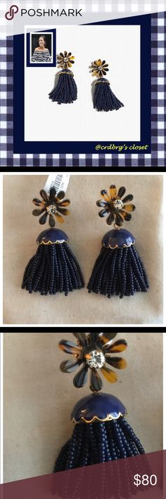 ⚓️🇺🇸NWT, JCrew Floral Tassel Earrings🇺🇸⚓️ ⚓️🇺🇸NWT, JCrew Floral Tassel Earrings! The cutest accessory for your summer wardrobe! Presented with tortoise daisies with a crystal center & navy beaded tassels that dangle for a perfectly polished yet fun vibe! 🇺🇸⚓️ J. Crew Jewelry Earrings