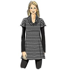Butterick tunic sewing pattern that's perfect for sweater knits and jerseys. Neckline and hem variations. B6247, Misses' Tunic