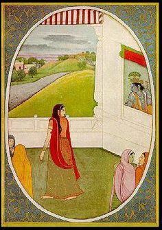 Plate 7 - The Message of the Eyes	 	 Krishna is shown seated in a window overlooking an open verandah. Radha has averted her face and is looking at Krishna. On the sides are sakhis talking to each other about the love of Radha and Krishna