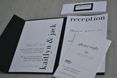 Pocket Fold Modern Invitation Simple Elegance Black and by Shnabby