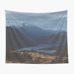 Calm Mountain Landscape. Scenic view of mountains in New Zealand. • Millions of unique designs by independent artists. Find your thing. Tapestry Bedroom, Wall Tapestries, Tapestry Wall Hanging, New Zealand Mountains, Tapestry Design, Mountain Landscape, Textile Prints, Sell Your Art, Top Artists