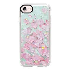 Spring Cherry Blossoms - iPhone 7 Case And Cover (1.020 CZK) ❤ liked on Polyvore featuring accessories, tech accessories, iphone case, apple iphone case, iphone cases and clear iphone case