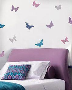 Butterflies, 4pc stencil kit  See more Bird and Butterfly Stencils: http://www.cuttingedgestencils.com/wall-stencils-bird-stencils.html