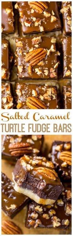Turtle Fudge Bars Salted Caramel Turtle Fudge Bars are crunchy, creamy, and chewy! And the best part is they're so easy to make.Salted Caramel Turtle Fudge Bars are crunchy, creamy, and chewy! And the best part is they're so easy to make. Brownie Recipes, Candy Recipes, Baking Recipes, Cookie Recipes, Dessert Recipes, Top Recipes, Chocolates, Just Desserts, Delicious Desserts