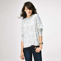 Tee-shirt à carreaux col cheminée carreaux gris Femme - Kiabi