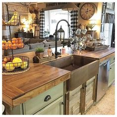 Farmhouse Sink Kitchen, Farmhouse Kitchen Decor, Rustic Kitchen, Kitchen Renovation, Small Kitchen, Farmhouse Kitchen Island, Farmhouse Kitchen Design, Kitchen Layout, Country Kitchen Designs