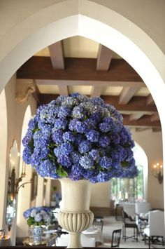 Hydrangea Centerpiece. Had these flowers at my wedding...in white and green. Added so much to the decoration!
