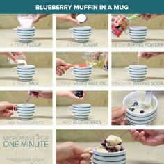 Blueberry muffin in a mug! Add sprinkle of brown sugar on top before microwaving