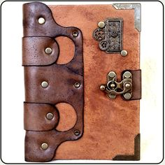 Handmade Unique Horologe Cogwheel Steampunk Leather Journal Notebook... ($45) ❤ liked on Polyvore featuring home, home decor and stationery