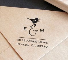 cute custom address stamp with bird save the by SugarPlumStamps