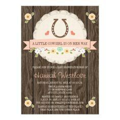 BLUSH PINK HORSESHOE WESTERN COWGIRL BABY SHOWER PERSONALIZED ANNOUNCEMENT