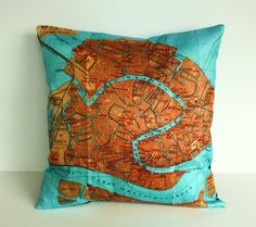 vintage map pillow mp cushion  VENICE Organic by mybeardedpigeon