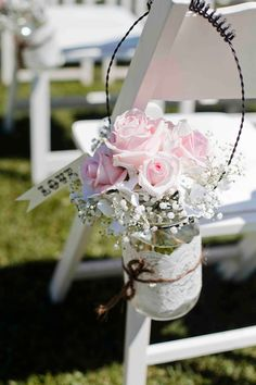 flowers in mason jars, use at ceremony then on tables at reception