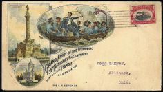 "1901 Grand Army of the Republic 35th National Encampment (Cleveland). Multicolor ad design showing ""Perry's Victory on Lake Erie"" and ""Garfi..."