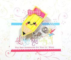 Pencil ID Badge-Embroidered Badge Reel- Happy Pencil Felt Applique-Retractable ID Badge Holder-Medical-Office-Badge Reel Clip- (Set of 1)