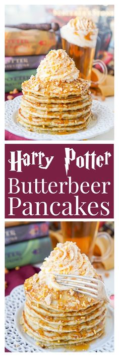These Harry Potter Butterbeer Pancakes are the perfect nerdy. These Harry Potter Butterbeer Pancakes are the perfect nerdy start to your day or a great way to kick off The Chosen Ones birthday! Breakfast And Brunch, Pancake Breakfast, Mexican Breakfast, Yummy Pancake Recipe, Yummy Food, Pancake Recipes, Tasty, Waffle Recipes, Pancake Ideas