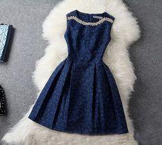 Sweet Embroidered Sleeveless Dress #52089AD