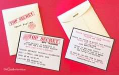 Cool printable spy party invitations. Just fill in the info, and you're ready to go! {OneCreativeMommy.com} Perfect for spy and secret agent birthday parties. Personalization available.