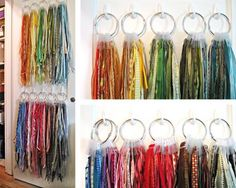 Best Ways to Store Ribbon.....THIS way is so inspiring! You can tell at a glance if you have a long length of ribbon or trim (or just a little). You can see how each length looks with any of the others without having to remove them all from a reel. Who wants to waste their time doing this? And it looks so gorgeous hanging there! Plus the rolls take up precious space that there is never enough of in any creative area. Can't wait to do this in my own studio.