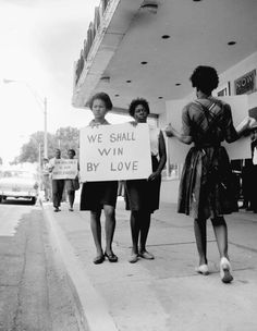 """Demonstration in front of Tallahassee theater, 1962: """"We shall win by love"""" and """"Non-Violence is our Watchword""""  uncredited"""