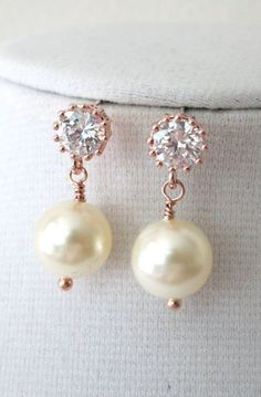 Rose Gold Cubic Zirconia Earring with Swarovski Pearl drop - gifts for her, pearl earrings, bridal gifts, drop, dangle, pink gold weddings, www.colormemissy.com