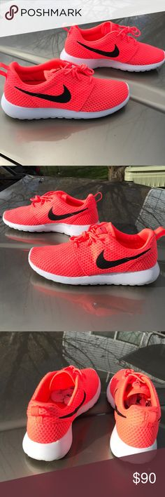 Mens Nike Roshes Rare men's Nike Roshes size 9.5. Color is deceiving, Coral in low light and fluorescent in bright light. They've been  worn a few times in good weather. Very well taken care of. Nike Shoes Athletic Shoes