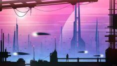 Seven by kvacm on DeviantArt Sci Fi City, Alien Spaceship, Retro Color, Computer Wallpaper, Deep Space, Science Fiction, The Book, Fantasy Art, Scenery