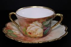 Antique Limoges LDBC Flambeau China Hand Painted Roses Bouillon Cup and Saucer #Limoges