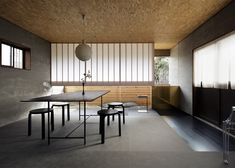 Old Japanese house transformed into a landscape architecture studio with a rockery.