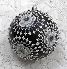 Elegant Black Hand Painted 3D MUD Floral Ornament with Bling (Lg) 341 by MargotTheMUDLady on Etsy SOLD!