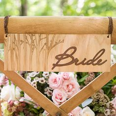 Wood Veneer Bride and Groom Chair Markers - The Knot Shop