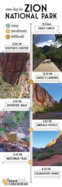 Zion National Park in Utah is divided into two sections. If you only have one day, plan to spend it in Zion Canyon. In only 8 hours, you can tackle four great hikes and soak up some of the most spectacular views the park has to offer. #zionnationalpark