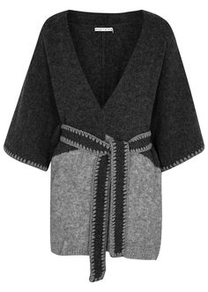 Alice + Olivia charcoaland light greyknitted poncho  Textured, stitch detail,detachablewaist tie, open front Slips on 29% polyamide, 20% wool,28% acrylic, 21% alpaca, 2% elastomer