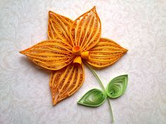 Quilling Flowers Tutorial: How to make a Orchid with a paper stripe. Qui...