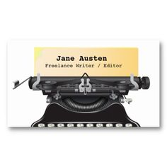 Shop Writer / Editor / Authors Business Card created by coolbusinesscards. High Quality Business Cards, Pen Name, Editorial, Jane Austen, Business Card Design, Writer, Things To Come, Graphic Design, Authors