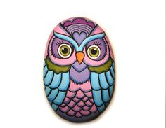 Rock Painted Colorful Owl by KanetisStones on Etsy