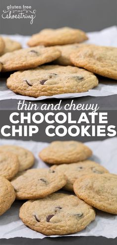 These thin and chewy gluten free chocolate chip cookies are made with plenty of butter and brown sugar. Perfect for making ice cream sandwiches. No crumbs!
