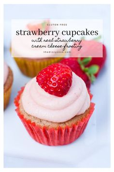 Gluten Free Strawberry Cupcakes with real strawberry cream cheese frosting have a homemade gluten free flour without xanthan gum that you can easily sub for regular flour or GF flour. So delicious! Strawberry Cream Cheese Frosting, Strawberry Puree, Strawberry Cupcakes, Gluten Free Cupcakes, Homemade Buttermilk, Strawberries And Cream, Gluten Free Baking, Diet Recipes, Yummy Recipes