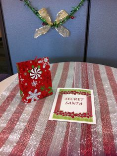 Secret Santa table at CCTSI in the Leprino Building #CUHSLibrary