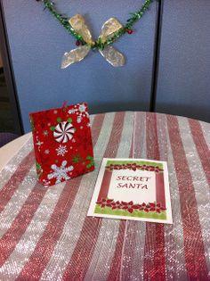 Secret Santa table at CCTSI in the Leprino Building #CUHSLibrary