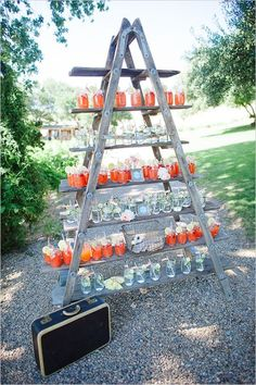 great way to display drinks for a wedding or outdoor event!
