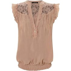 lace insert sleeveless blouse found on Polyvore...I want this shirt...sold out! :(